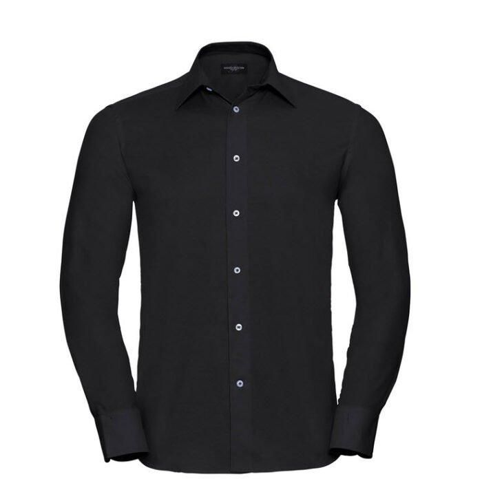 russell overhemd, blouse oxfort lange mouw zwart