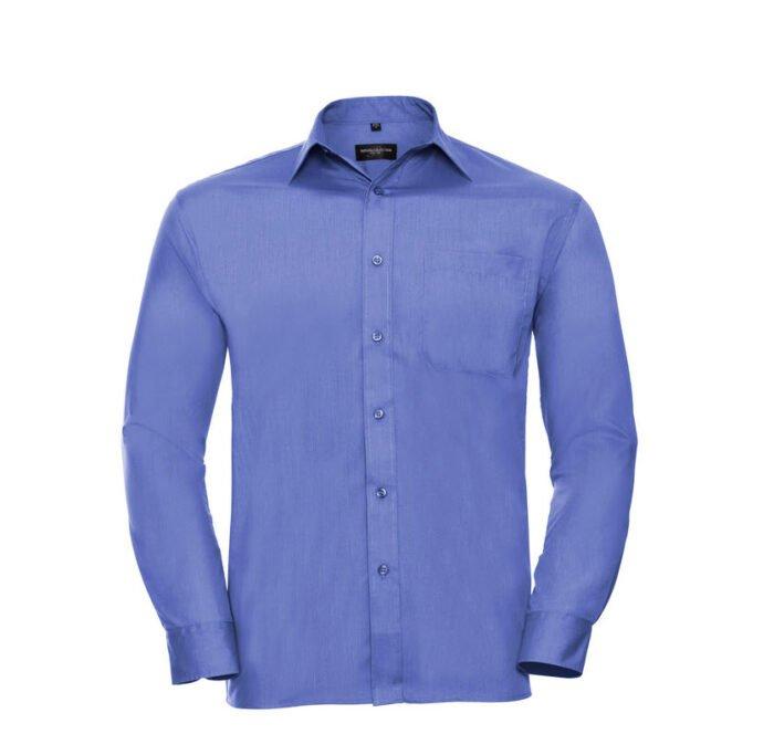 russell overhemd, blouse poplin lange mouw l blauw