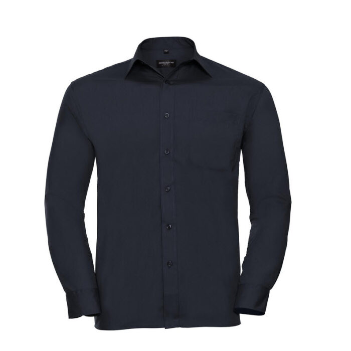 russell overhemd, blouse poplin lange mouw marine