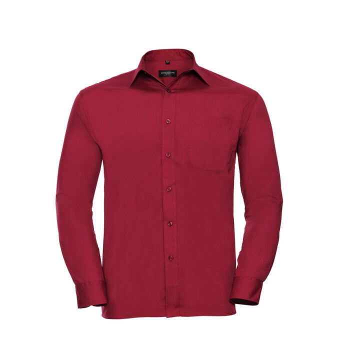 russell overhemd, blouse poplin lange mouw rood