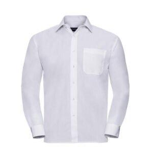 russell overhemd, blouse poplin lange mouw wit