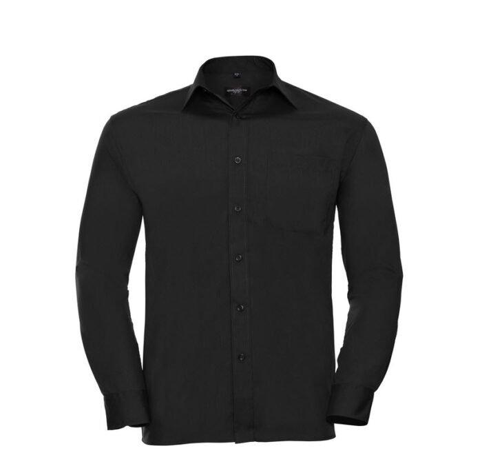 russell overhemd, blouse poplin lange mouw zwart