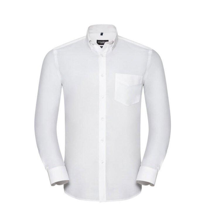 russell overhemd, blouse drukknoop oxford wit