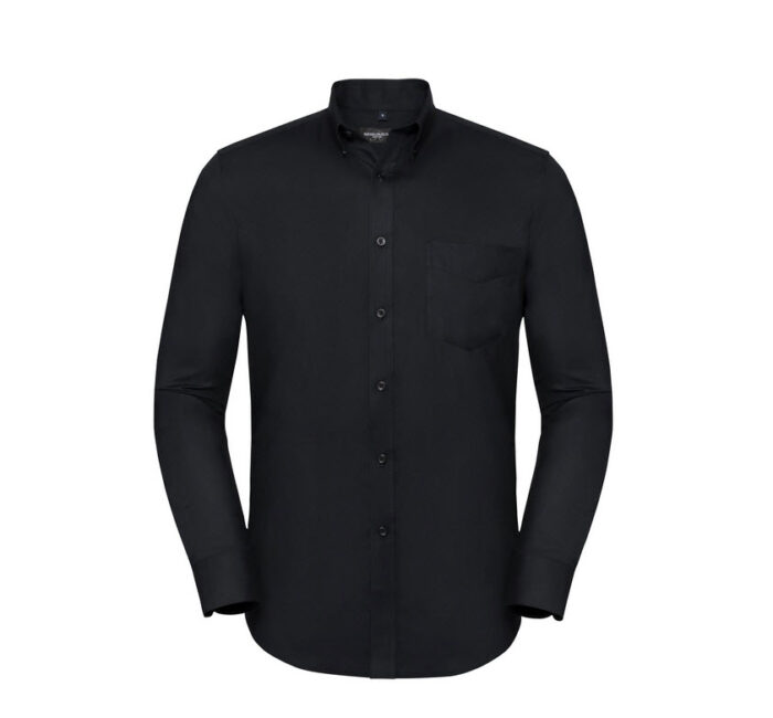 russell overhemd, blouse drukknoop oxford zwart