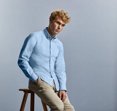 russell overhemd, blouse drukknoop oxford