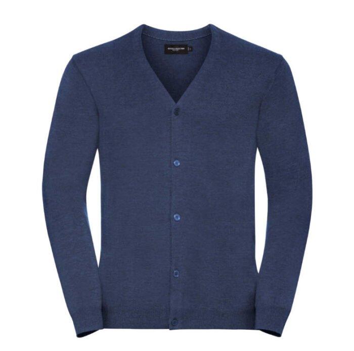 russell vest, met v hals en knoopjes blauw