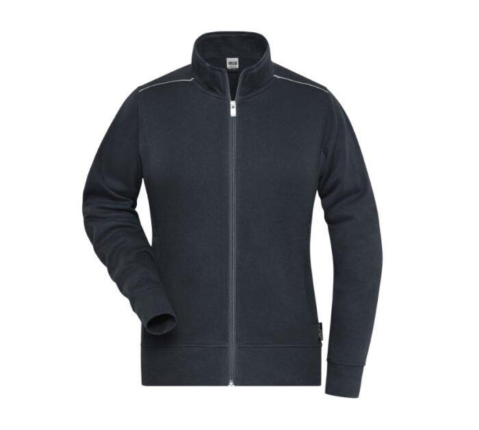 james & nicholson solid sweater jas met rits jn893 dames antraciet