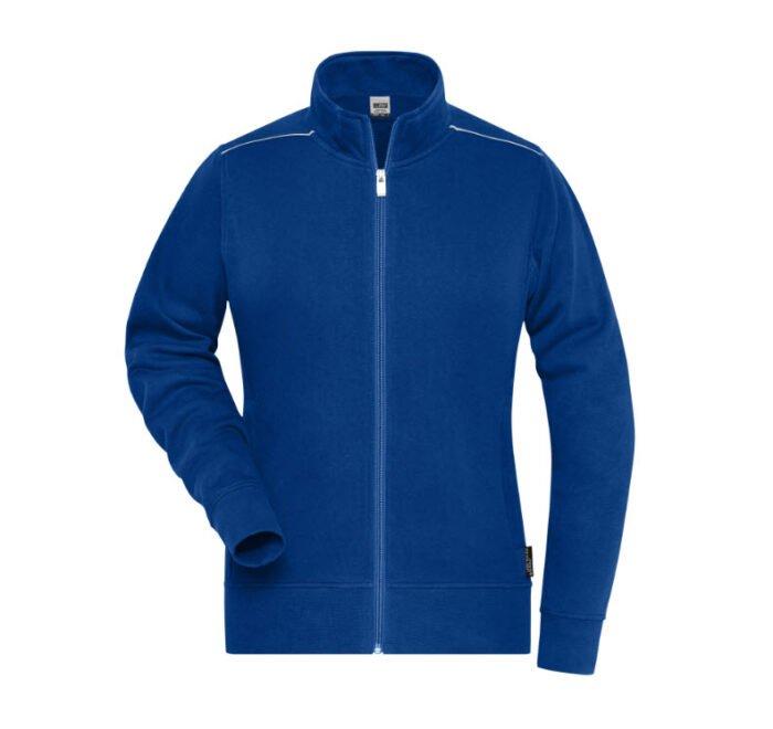 james & nicholson solid sweater jas met rits jn893 dames korenblauw