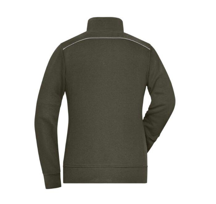 james & nicholson solid sweater jas met rits jn893 dames olijf 2