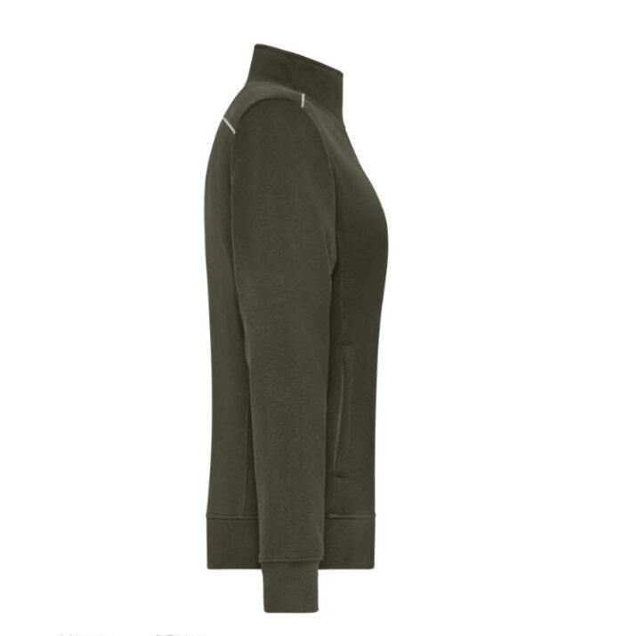 james & nicholson solid sweater jas met rits jn893 dames olijf 3