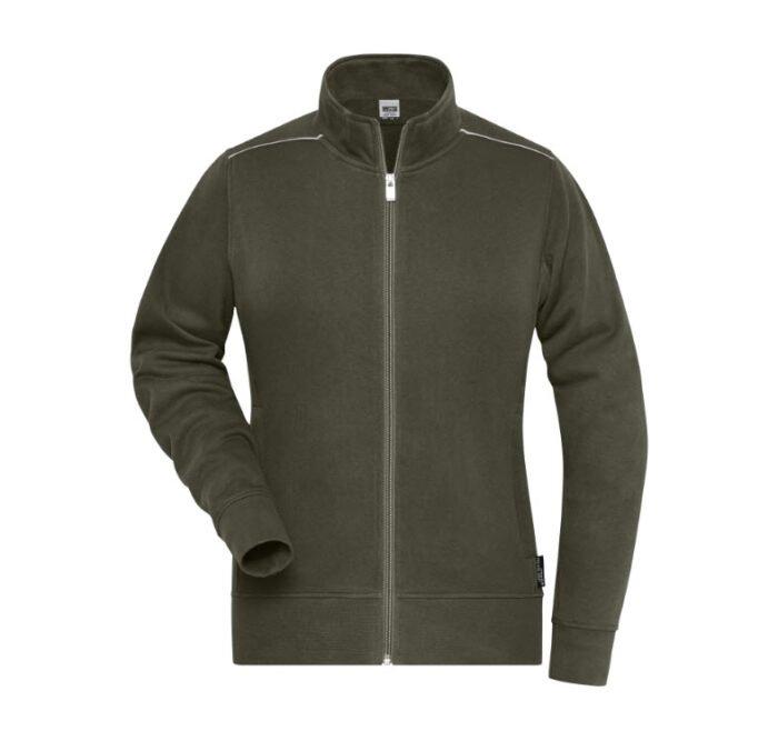 james & nicholson solid sweater jas met rits jn893 dames olijf