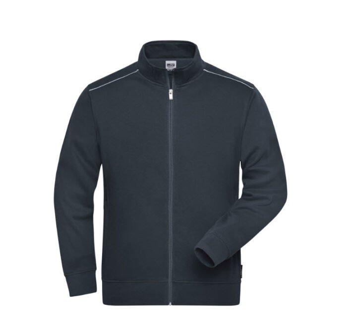 james & nicholson solid sweater jas met rits jn894 heren antraciet
