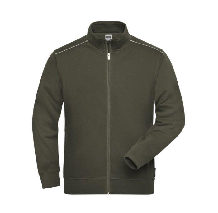 james & nicholson solid sweater jas met rits jn894 heren olijf