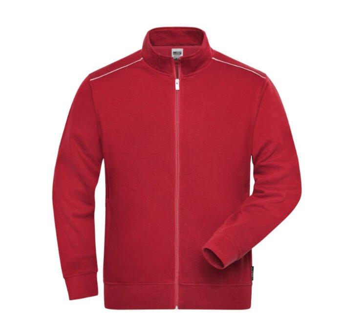 james & nicholson solid sweater jas met rits jn894 heren rood