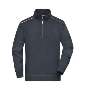james & nicholson solid sweater met rits jn895 antraciet