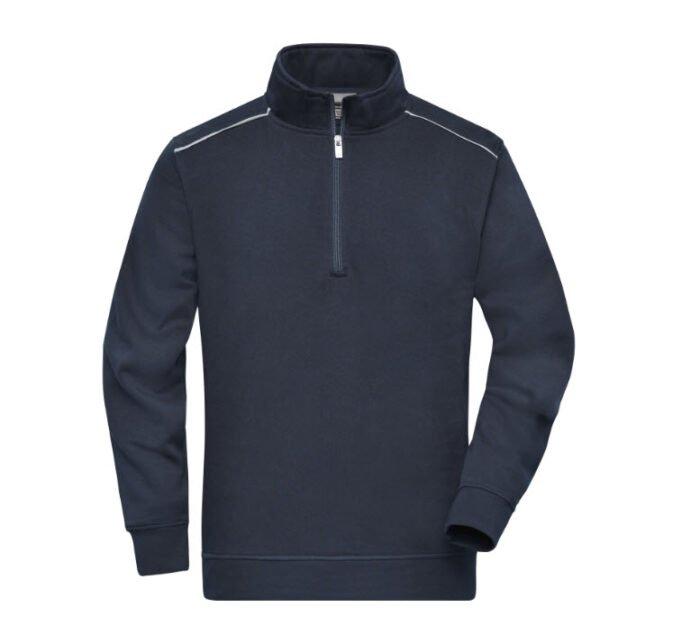 james & nicholson solid sweater met rits jn895 marine