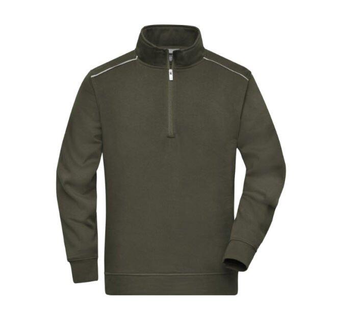 james & nicholson solid sweater met rits jn895 olijf