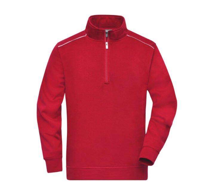 james & nicholson solid sweater met rits jn895 rood